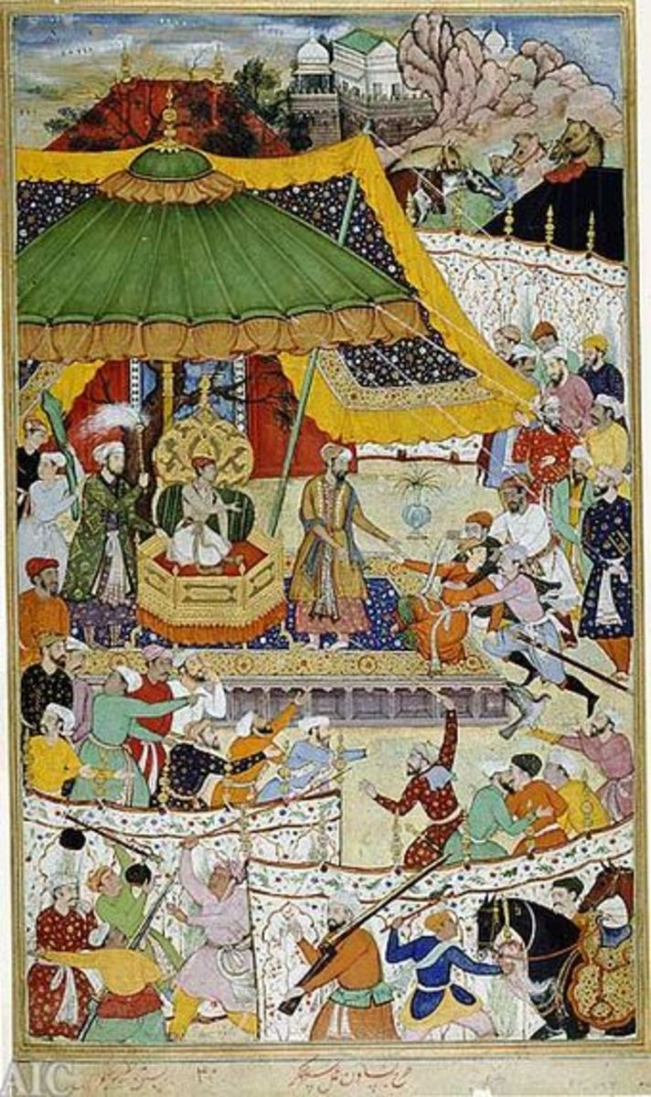 Akbar in his court punishing an unruly courtier