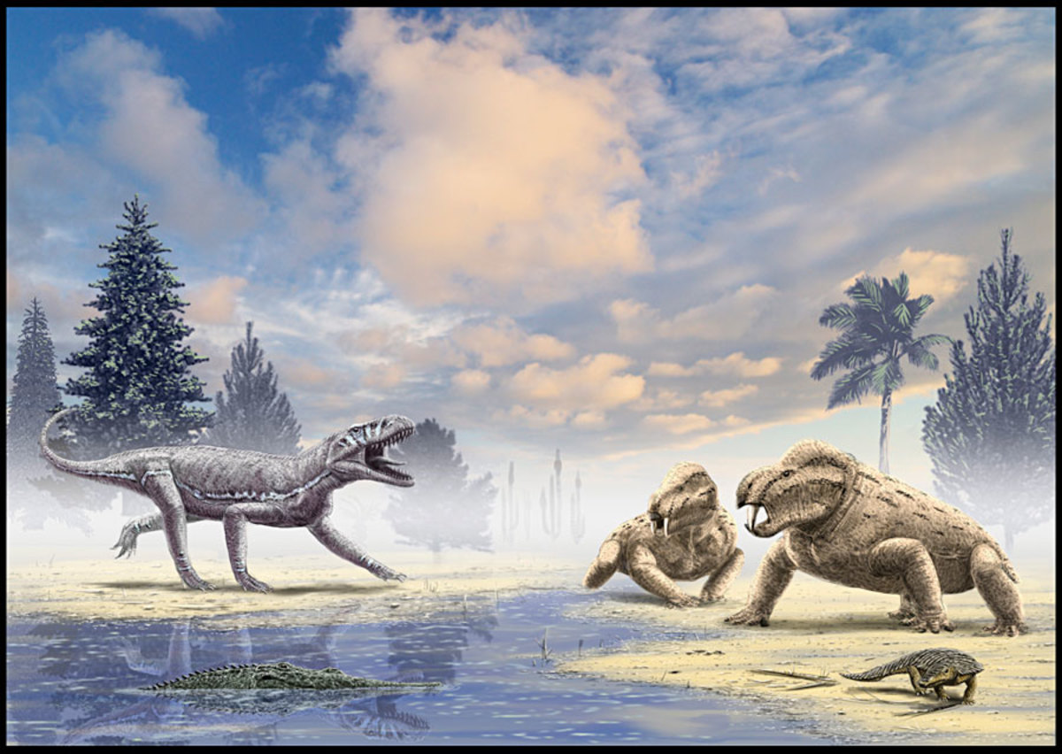 Triassic Morocco scene by Alain Beneteau, in which an Arganasuchus (left) meets two Moghreberia (right). In the foreground, a phytosaur lies in wait (left) and an aetosaur crawls along the shore (right).