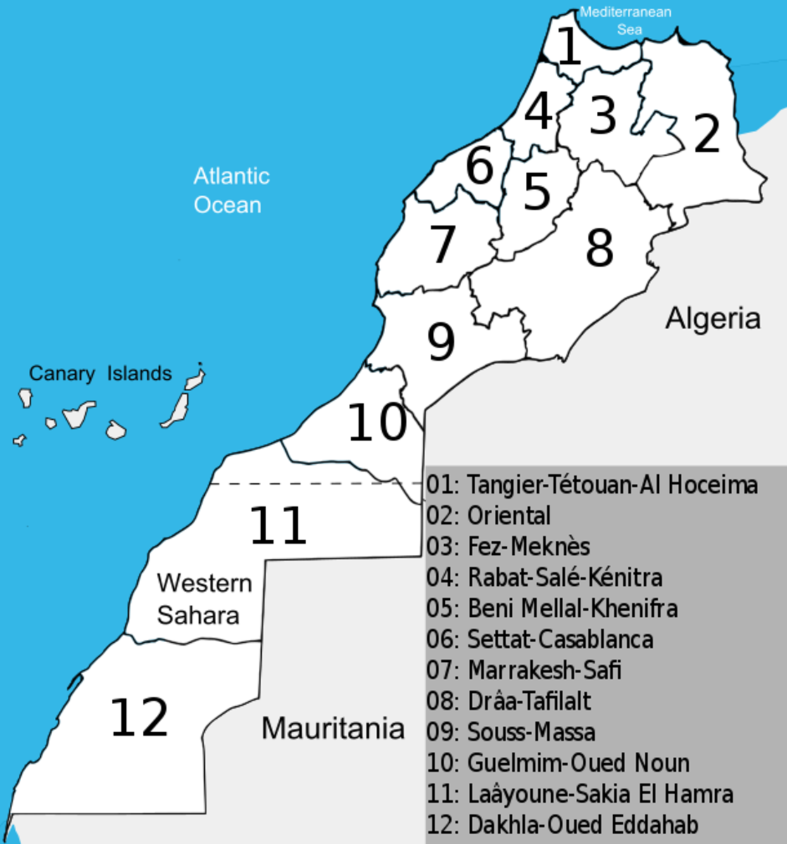 Regional map of Morocco by Xerxes1337. The two southmost provinces comprise the Western Sahara, which is disputed territory.