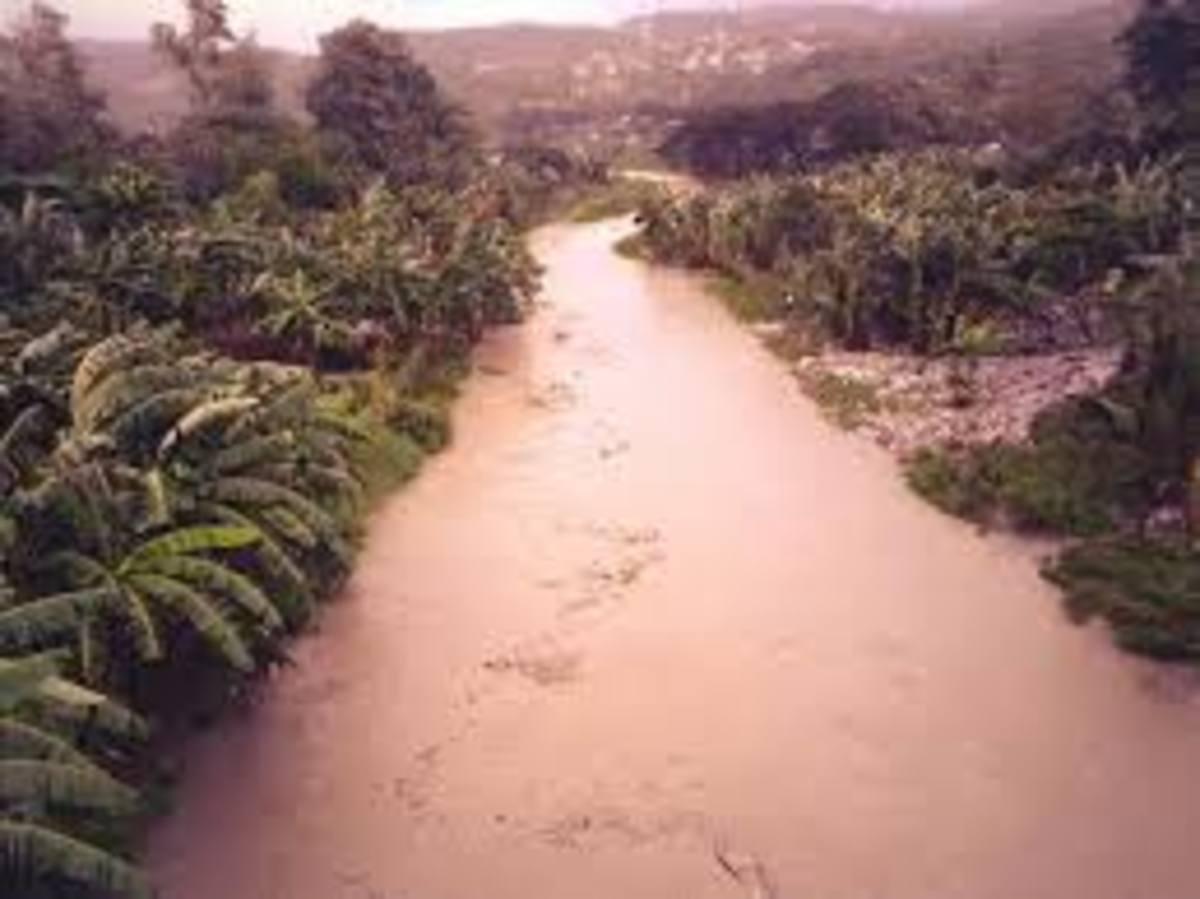 flashflood on the Mananga river during typhoon Yolanda