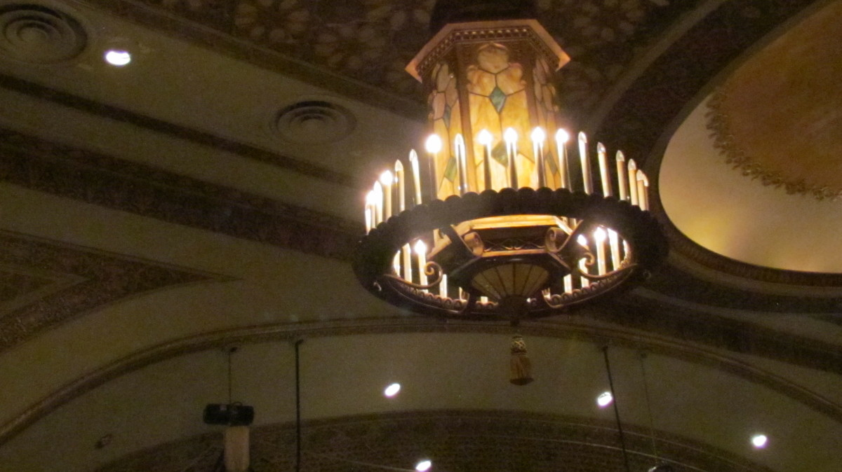 Some of the beautiful lighting at the venue in the foyer where Boscov's Berks Jazz Fest was held.