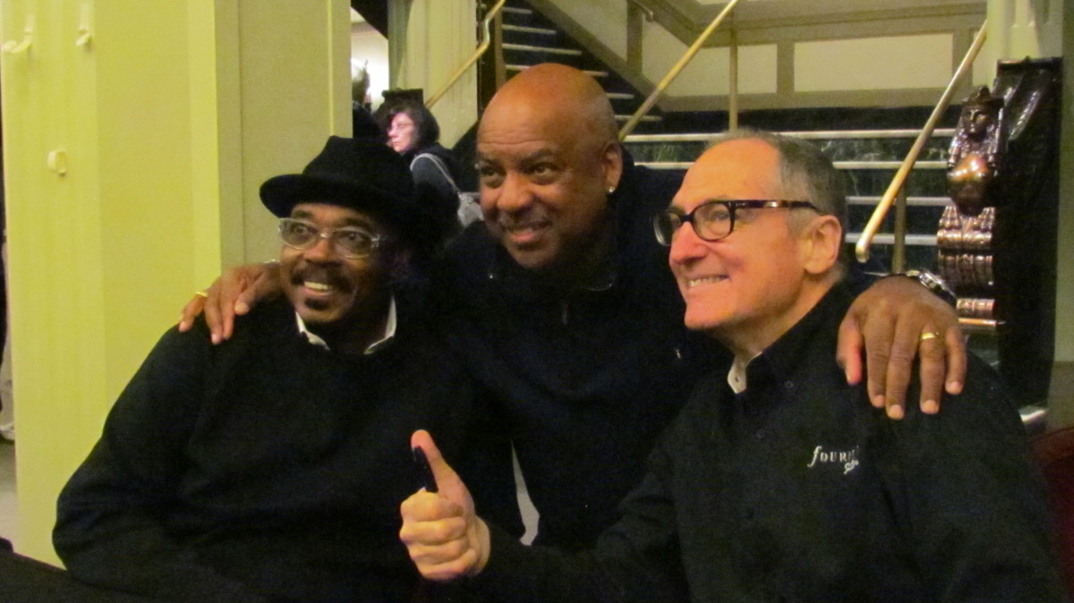"Very talented members of the jazz quartet ""Fourplay."" On the left drummer, Harvey Mason, Nathan East plays bass and Chuck Loeb plays guitar."