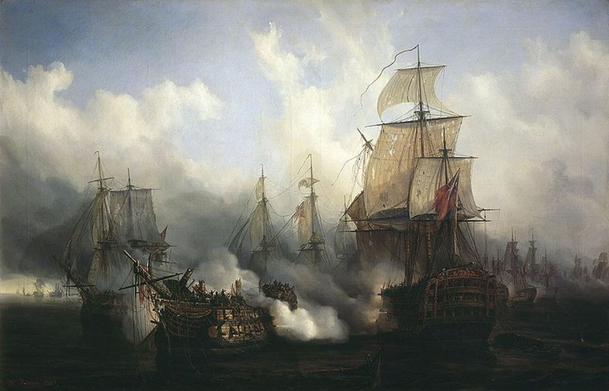 Hundreds of thousands of men fought for decades at sea, crammed into rolling wooden warships, to attempt to achieve supremacy of the waves. Pictured, the Battle of Trafalgar.