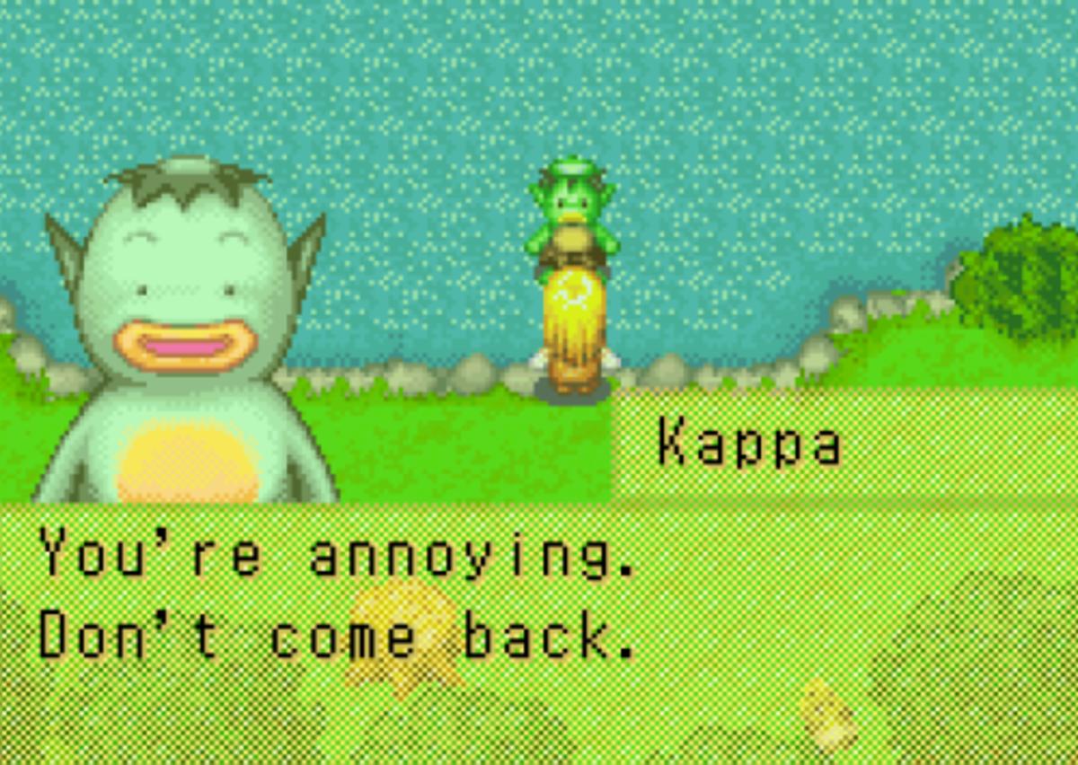One of Kappa's many charming dialogue texts.