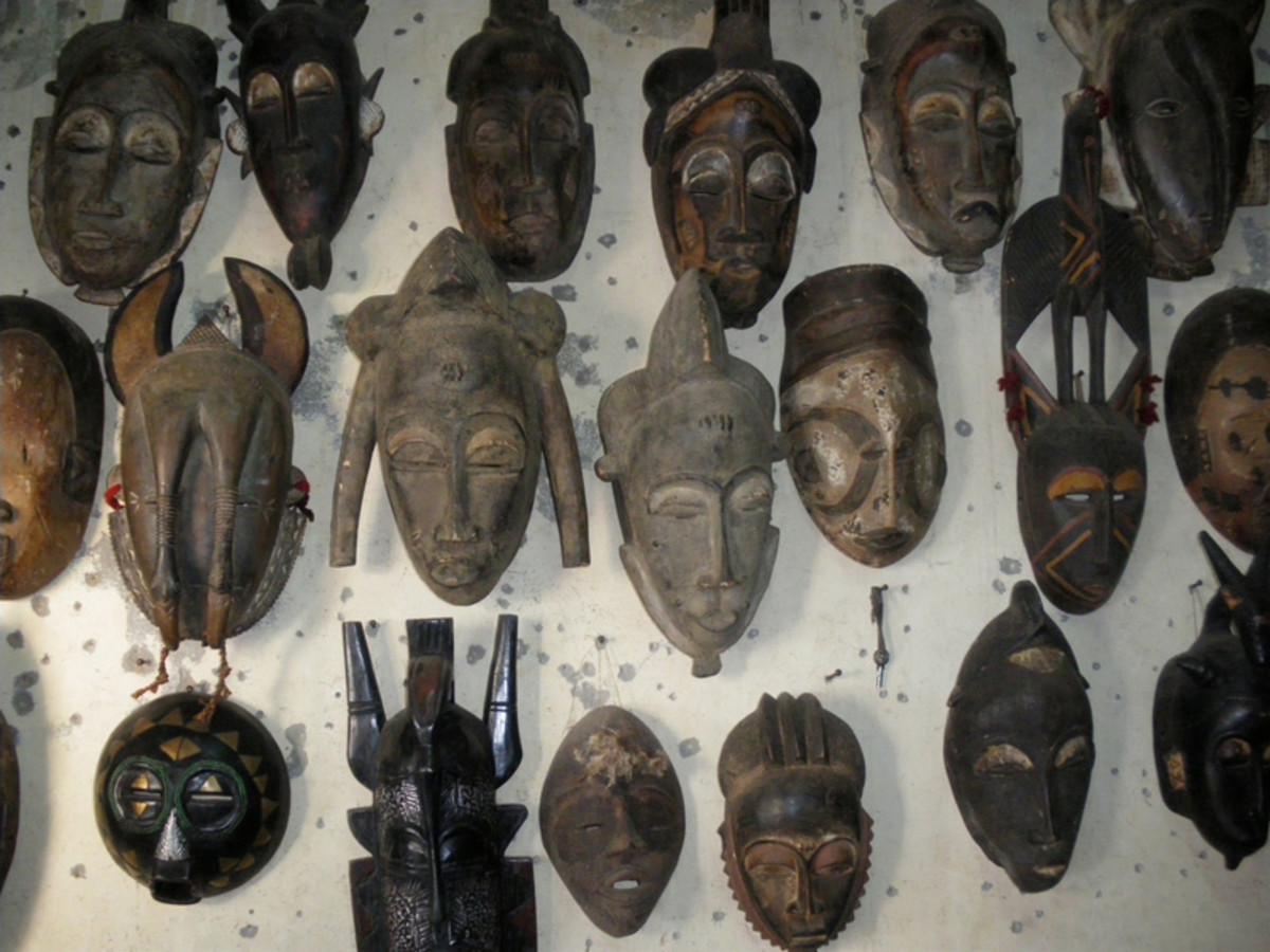 Senegalese masks arrayed. One of the most famous represents of African animism.