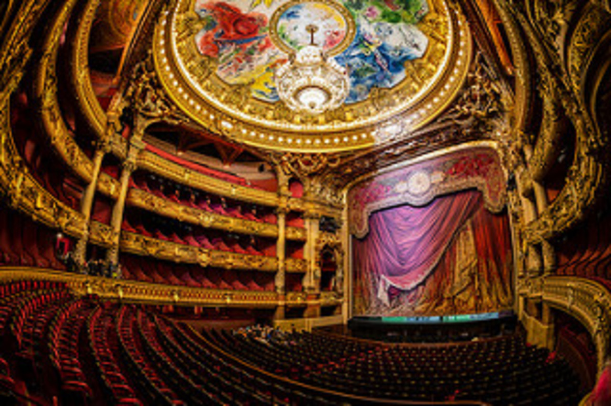 The marvelous stage of the Opera Garneir. The elegant seats have allowed spectators to enjoy the performances for over a hundred years.