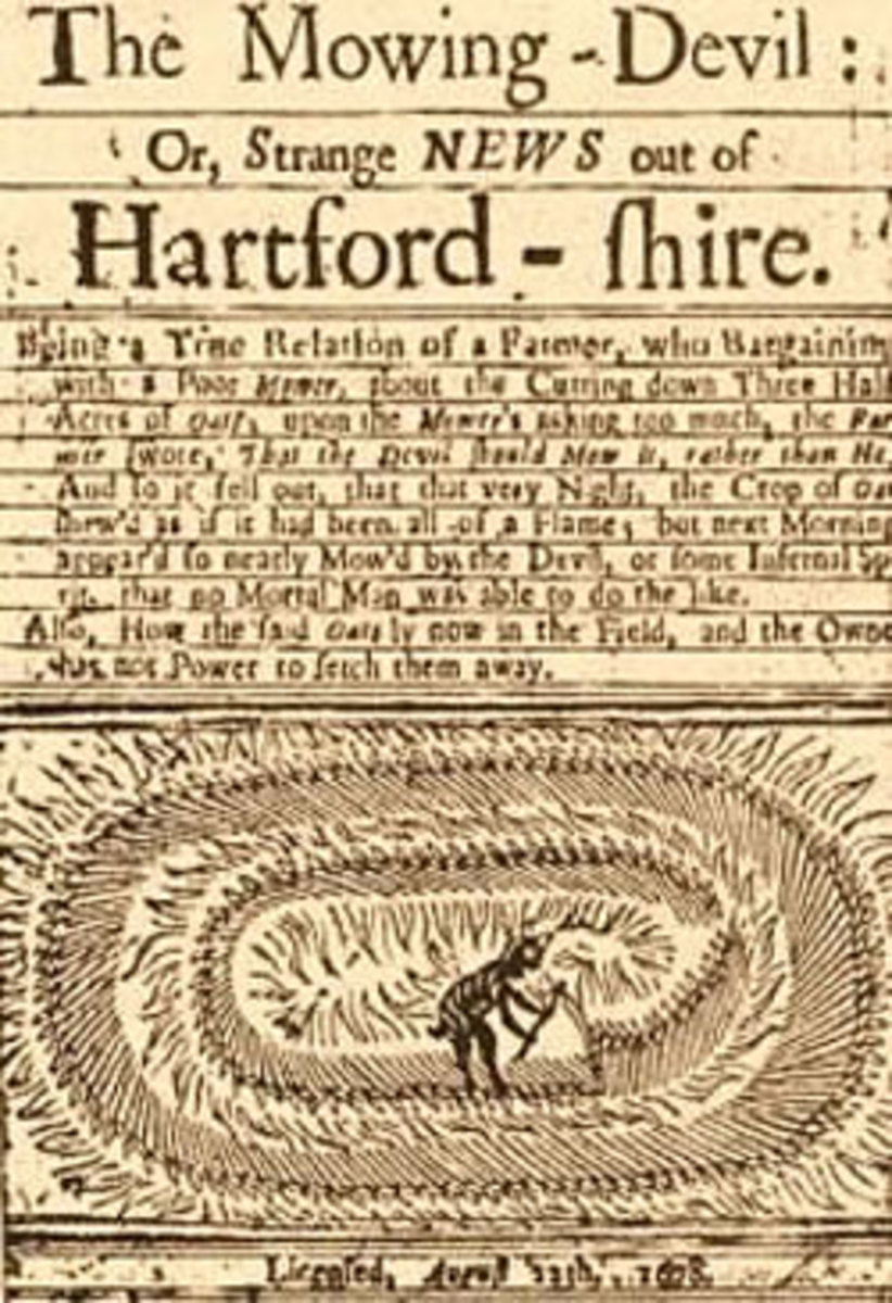 "The Mowing Devil printed in Hartford-Shire in 1678 as ""Strange News."""