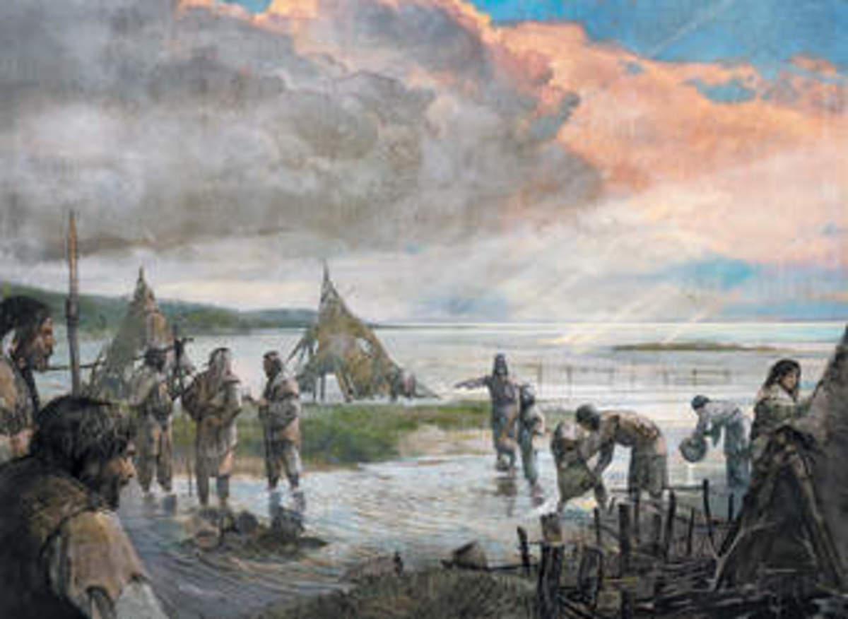 Artist impression of Stone Age settlers of Doggerland