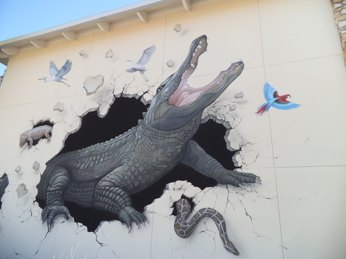A graphic on the wall outside Gatorland in Kissimmee, Florida.