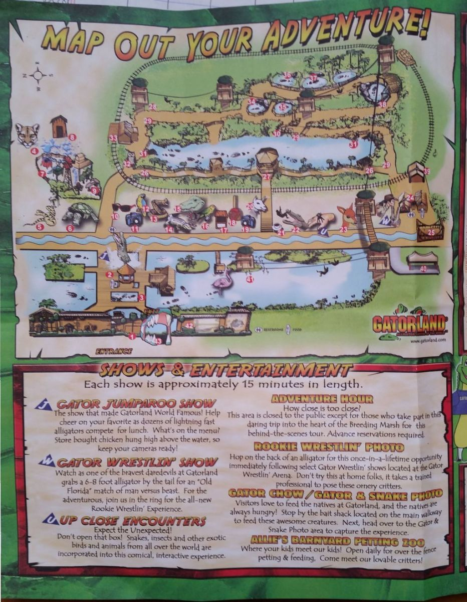The map of Gatorland. This gives you an idea of the shows and scenes you will see there.