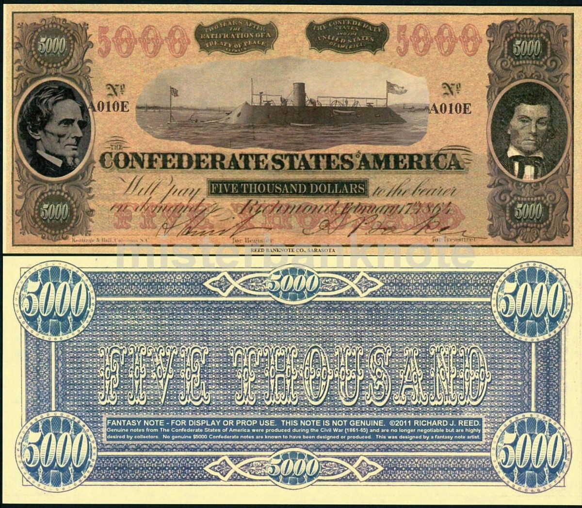 This is a  Confederate $5000 fantasy art note 1864 / 2011  CSS Virginia, Jefferson Davis, and Stephens on the front.