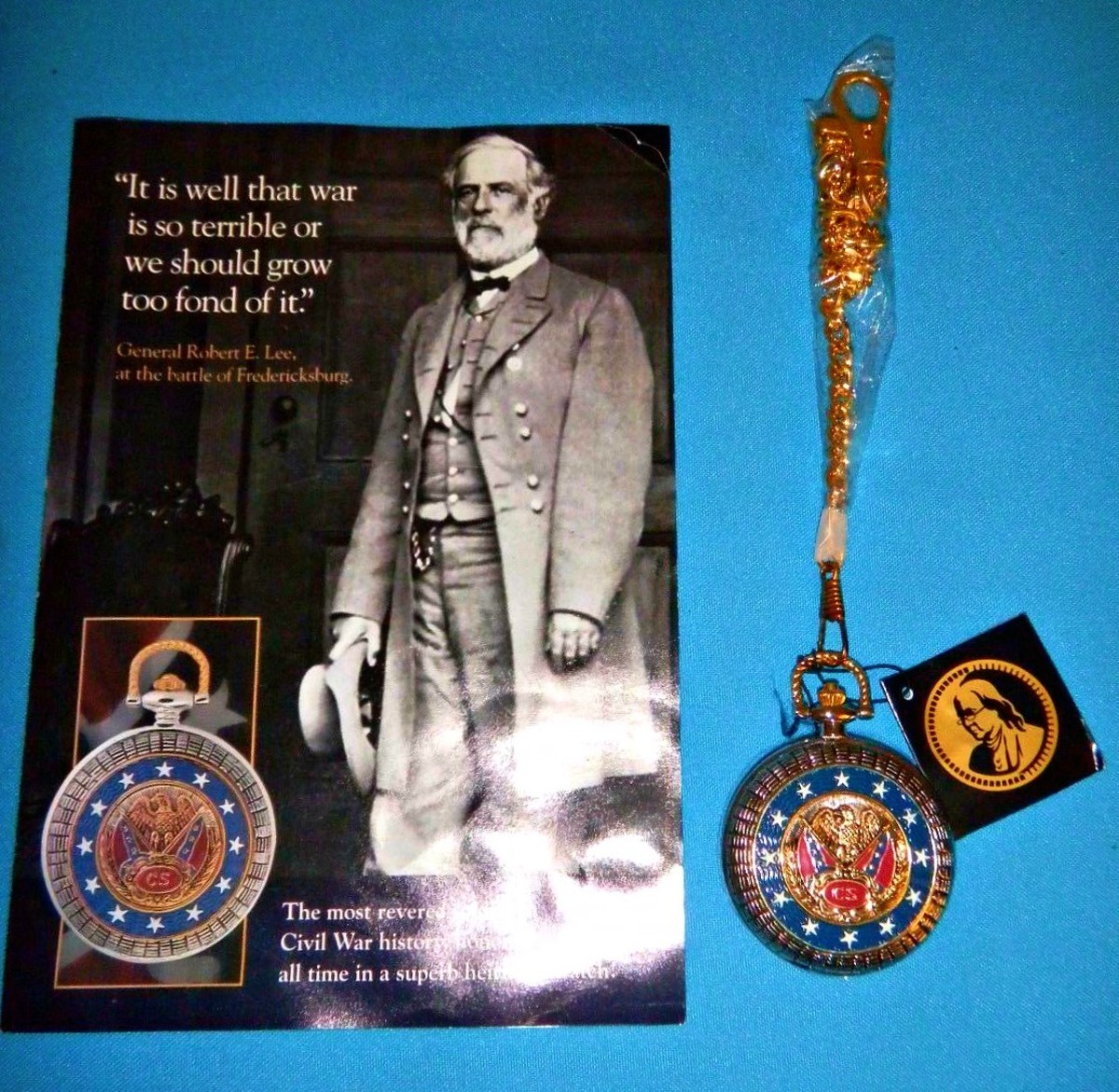 Franklin Mint Collector Watch of  Robert E. Lee, pocket watch with chain, the amount of Civil War, and Confederate memorabilia is amazing to behold.