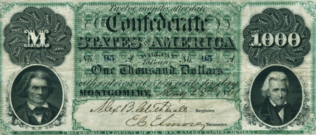 The 1861 One Thousand Dollar Confederate States of America Note ... $1000 Montgomery notes are considered to be the most respected Confederate note ever produced by the CSA. Regarded as one the best made notes of the CSA.