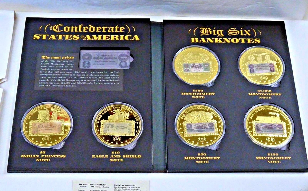 American Mint Confederate States of America Big Six Type Banknote Set & Folder