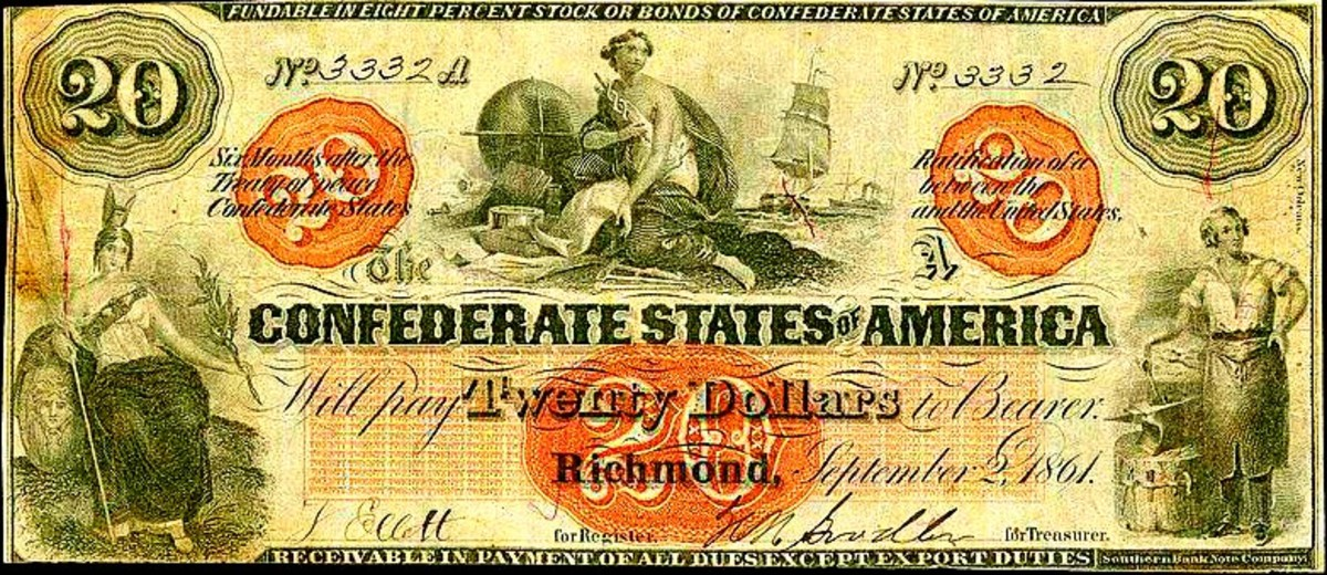 This is a 1862 $20.00 Confederate Banknote, One of many creative Designs that year ... Each state in the Confederacy produce large numbers of creative designs for the banks to distribute to the population.