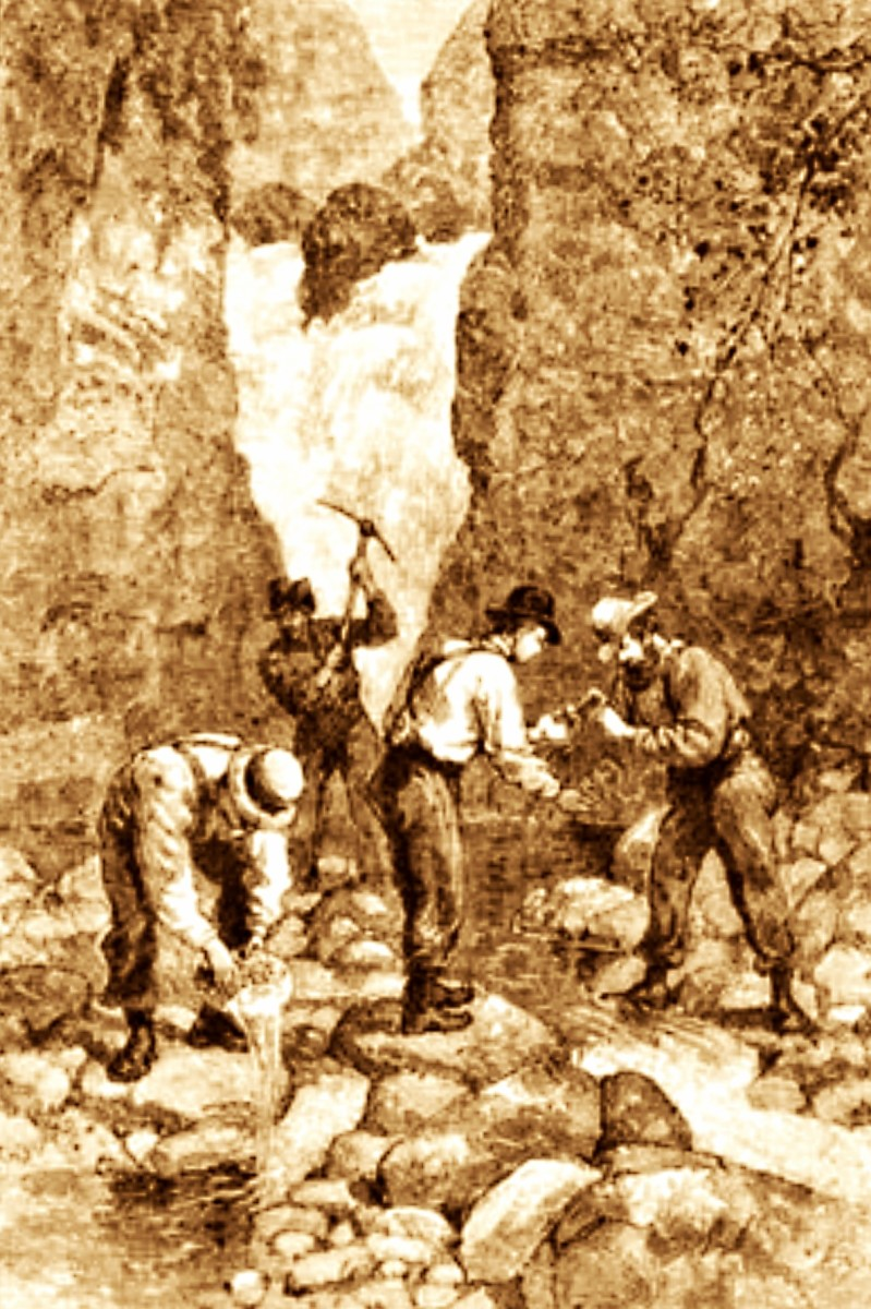 The gold rush of the 1830s in the Southeastern United States, large deposits were discovered in the state of Georgia, and also North Carolina.