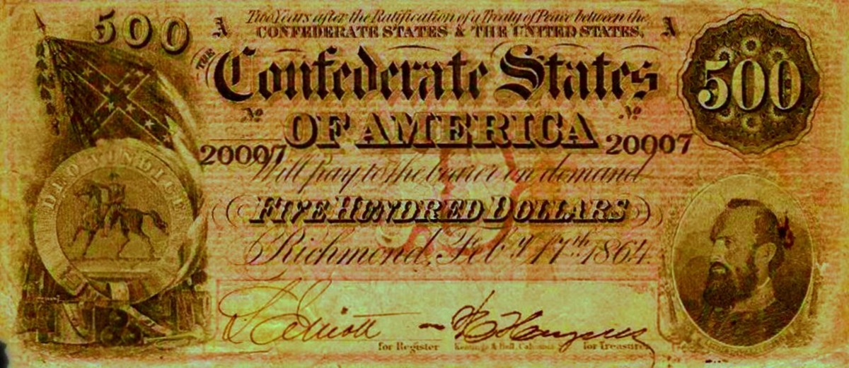 A 1864  Five Hundred Dollar Confederate States of America Banknote, with Stonewall Jackson in the left corner.