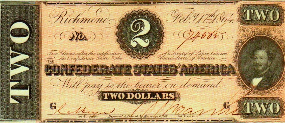 A 1864 Two Dollar Confederate States of America  Currency.  With Judah P. Benjamin to the right on the front of the bill.