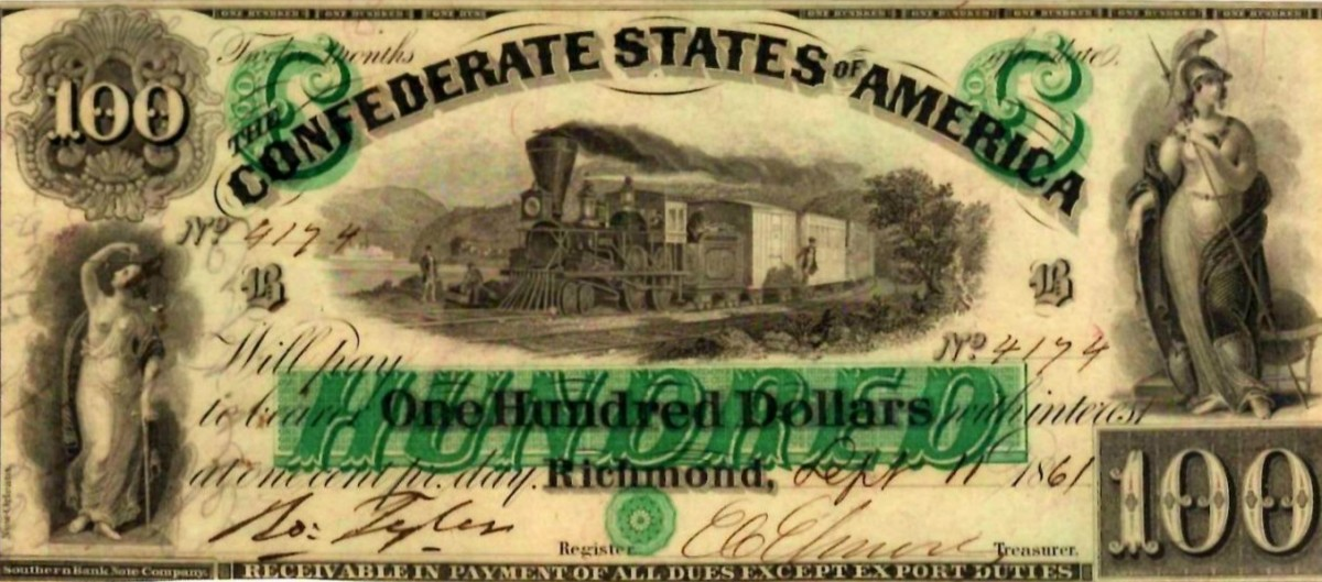 A 1861 One Hundred Dollar Confederate States of America bill, printed in Richmond Virginia and hand signed.