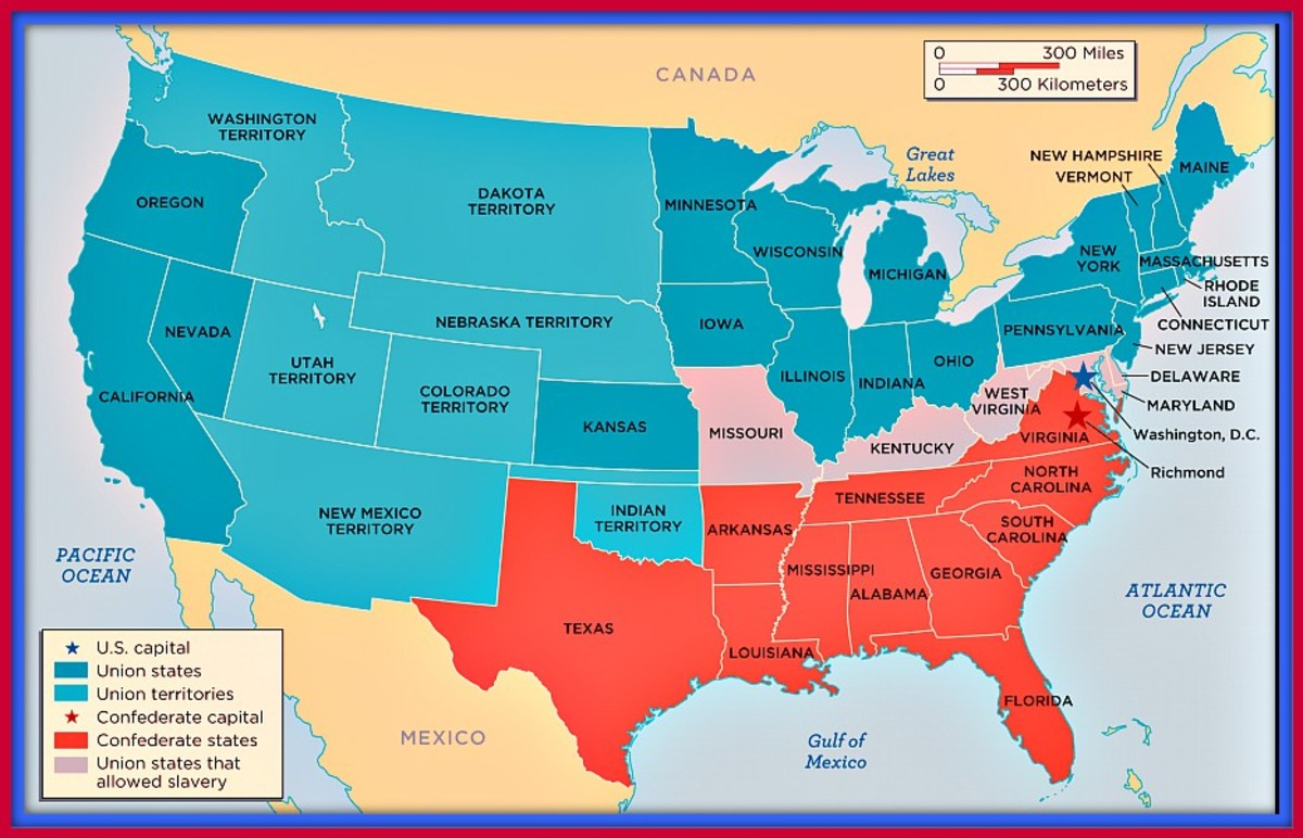 1861 Map of the Confederate States and the United States, The Confederate States are in red, the Union states are in blue ...