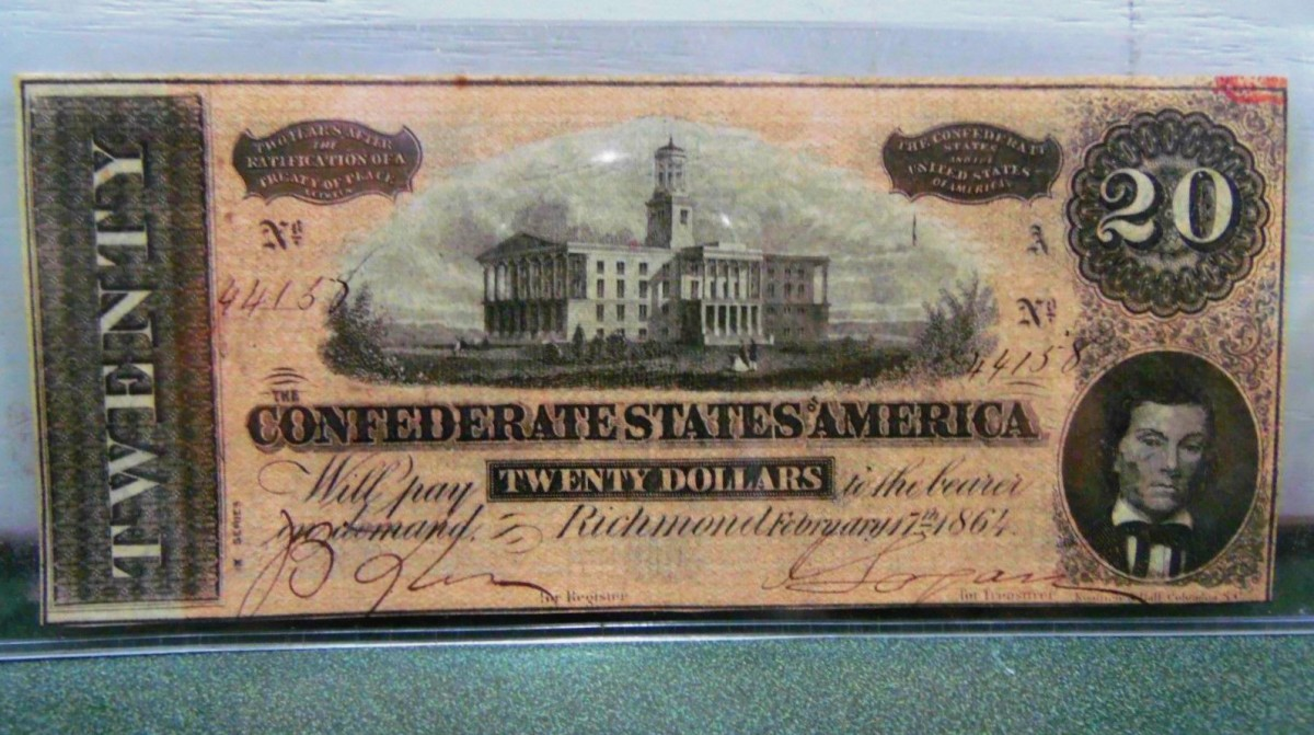 The Front of the 1864 Twenty Dollar  Confederate States of America Note made in Richmond Virginia