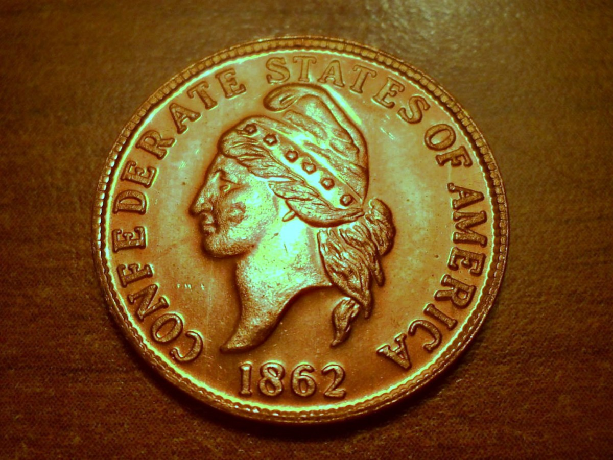 A 1862 Confederate One Cent Penny, This one has a really good Raised Sculptured Relief