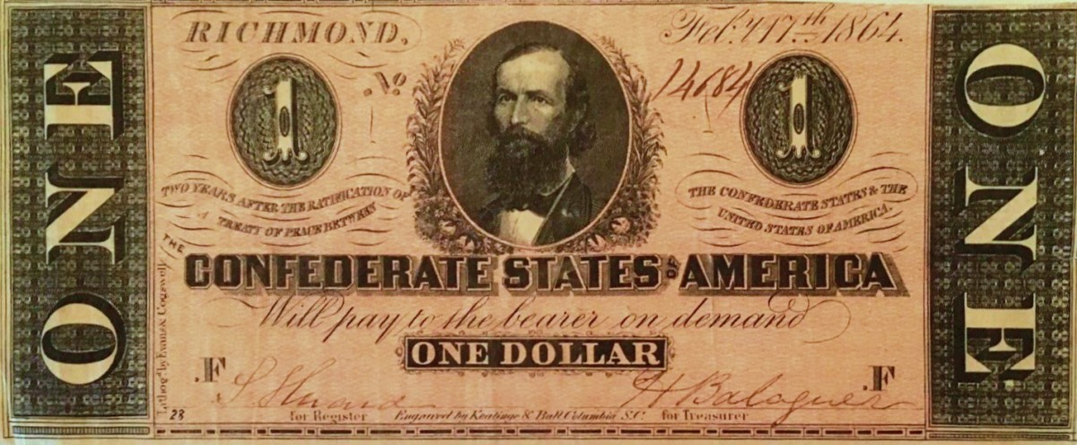 A One Dollar 1864 Confederate States of America Currency printed in Richmond Virginia