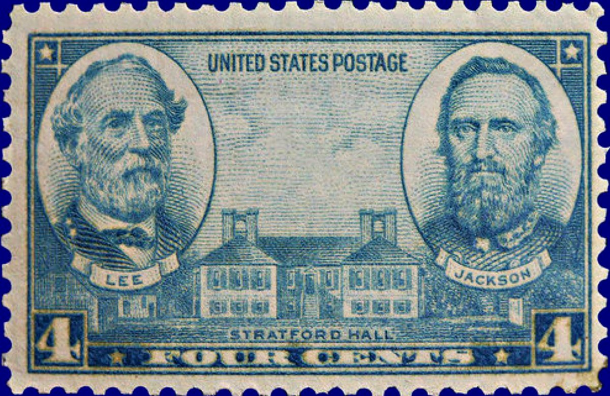 1937 Four Cent United States Stamp wit Lee and Jackson & Strafford Hall ... U.S. #788 was part of a 10-stamp series that commemorated Army and Navy heroes of the United States. This stamp has General Lee and General Jackson of the CSA