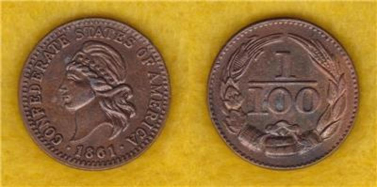 This is a Confederate One Cent from 1861 sometimes know as a Confederate token or fantasy penny.