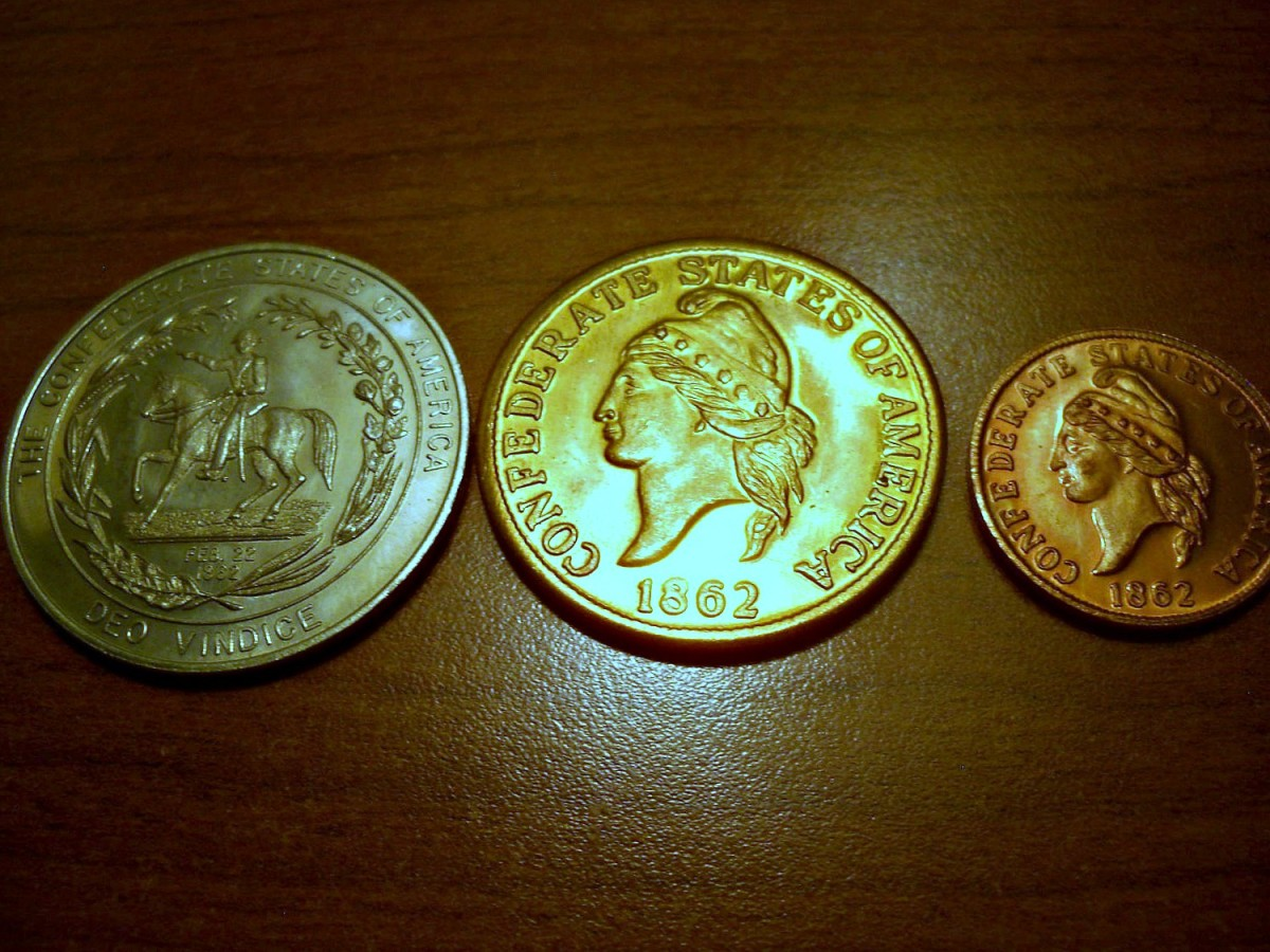 Confederate Civil War Re-strike. Coins 3 coin a One Cent, $20.00, & Half Dollar ...