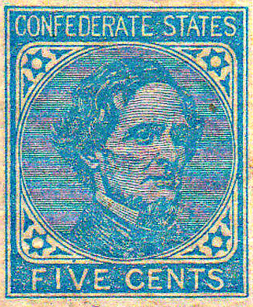 A 1862 Confederate States of America Five Cent stamp.  Portrait of Confederate President Jefferson Davis.