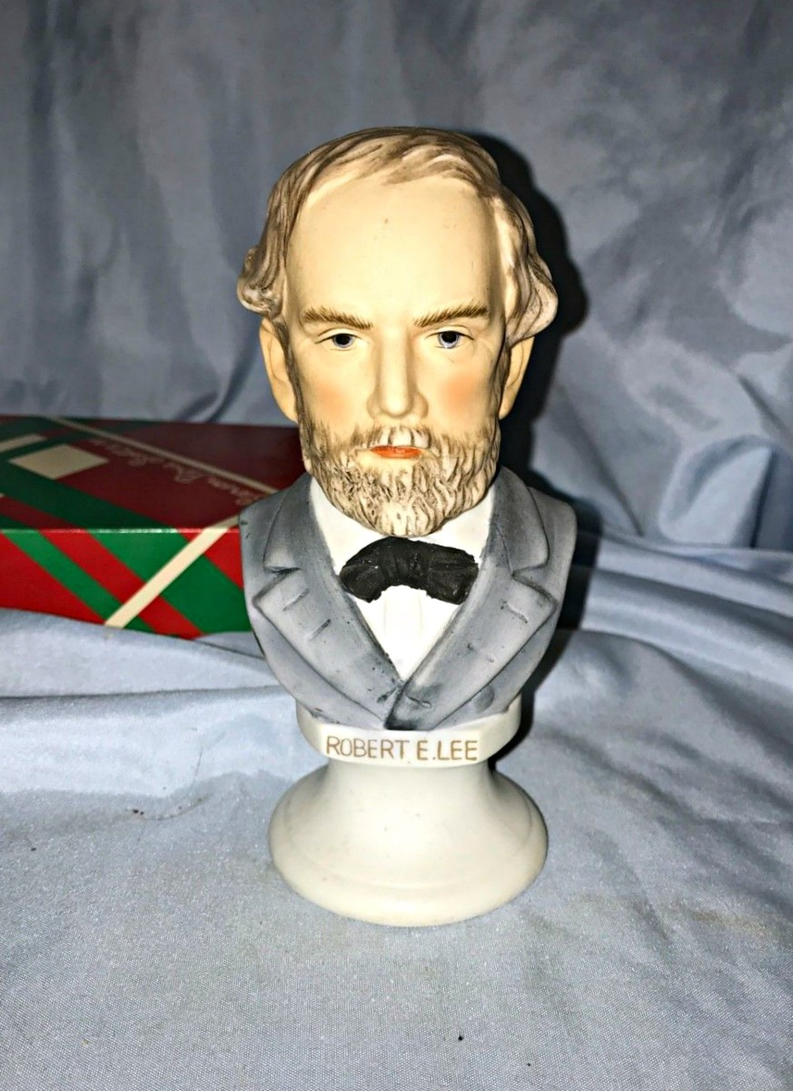 "Head Bust of General Robert E Lee Statue made by Lefton Ceramic of Japan ... Robert E. Lee Bust Figurine KW 1131 with the original ink stamp.  It measures 5 3/4"" tall. 2 1/4"" base diameter.Hand-made and hand decorated"