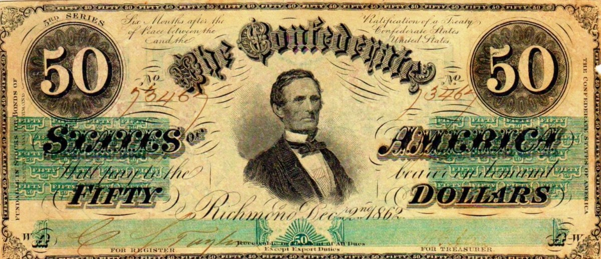 "A $50.00 Confederate States of America Currency.  In the center is Jefferson Davis, This is the 3rd Series. Printed by Keatinge and Ball of Richmond. ""Fund-able"" on left margin. Printed on paper watermarked Confederate paper."