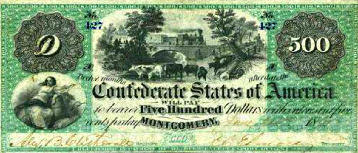 This a nice $500.00 Confederate States of America Banknote. From the year 1864.