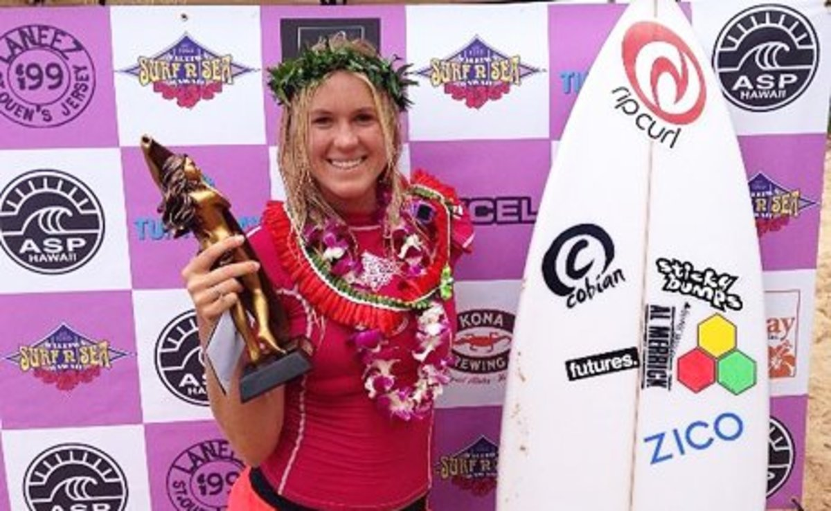 Bethany Hamilton with championship awards