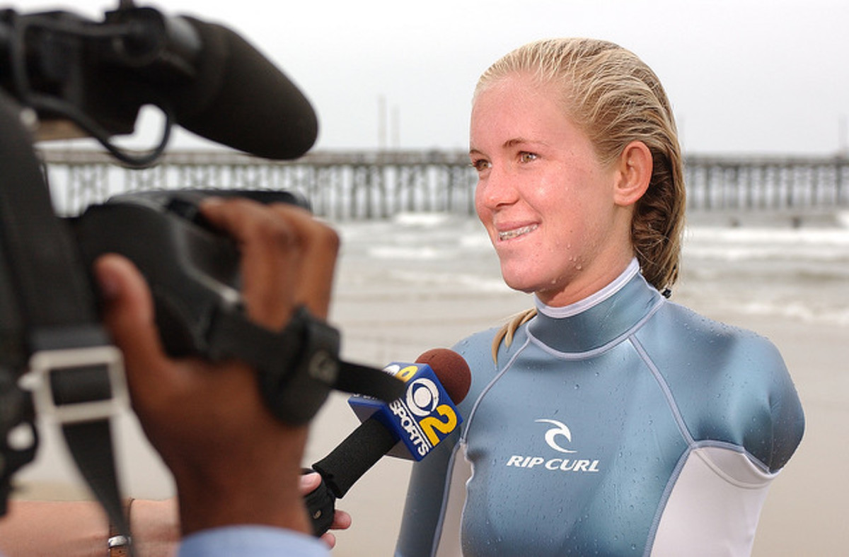 Bethany Hamilton being interviewed