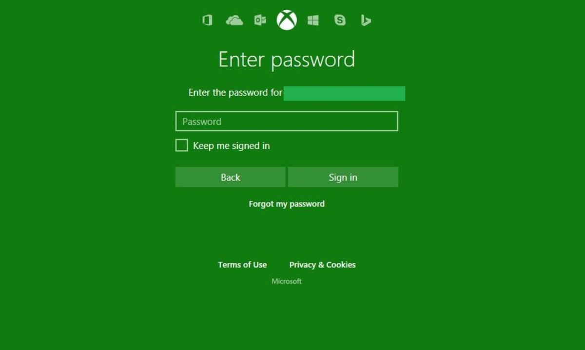 "Enter the password associated with your Xbox Live account, and then click the green ""Next"" button."