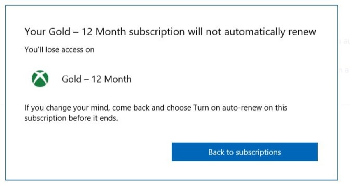 "Click the blue ""Back to Subscriptions"" button to return to the Payment Settings window, where you'll have the option to turn the Auto Renew feature back on if you ever want to."