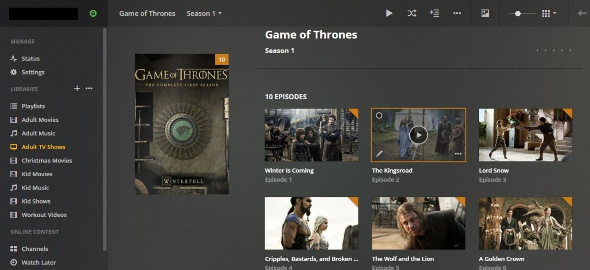 You'll see a detailed list of episodes within each season.