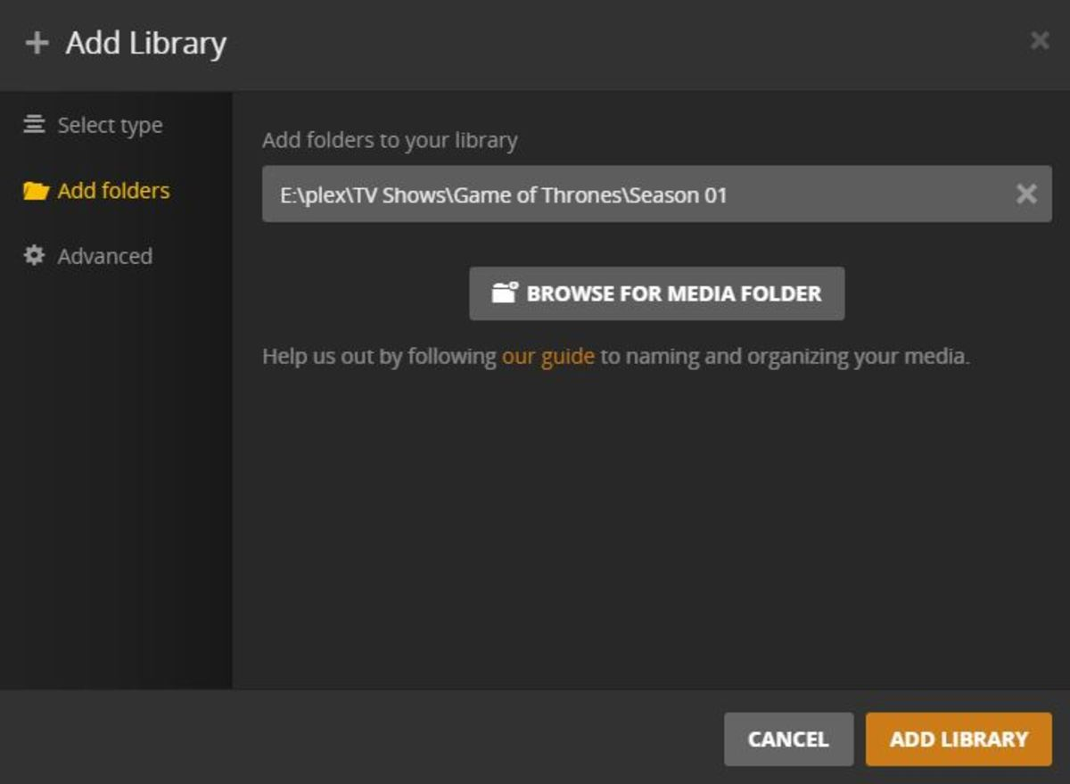 """Click """"Browse for Media Folder"""" to locate and start adding seasons of the TV show you want to add to Plex."""