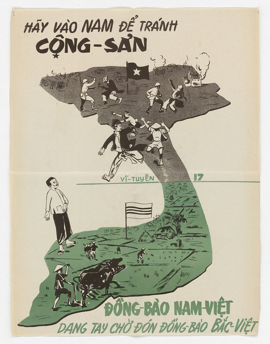 "A propaganda poster encouraging Vietnamese to move South, the top saying ""Go South to avoid communism!"" and the bottom ""People of Southern Vietnam are welcoming with open arms Northern Vietnamese people."""