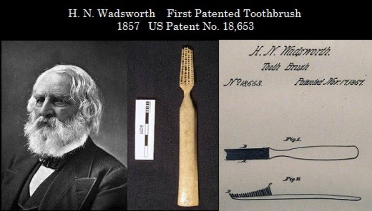 Wadsworth who patented the toothbrush in 1857.