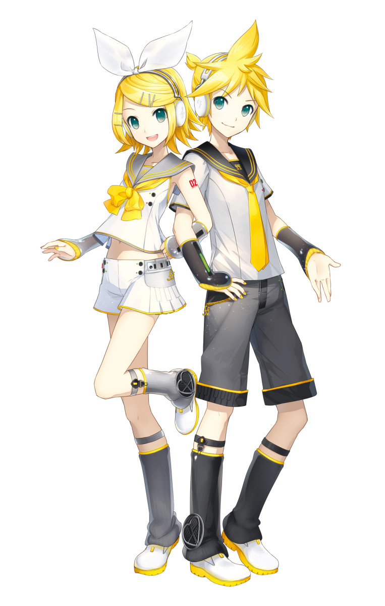 Kagamine Rin (left) and Kagamine Len (right) both in their V4X design