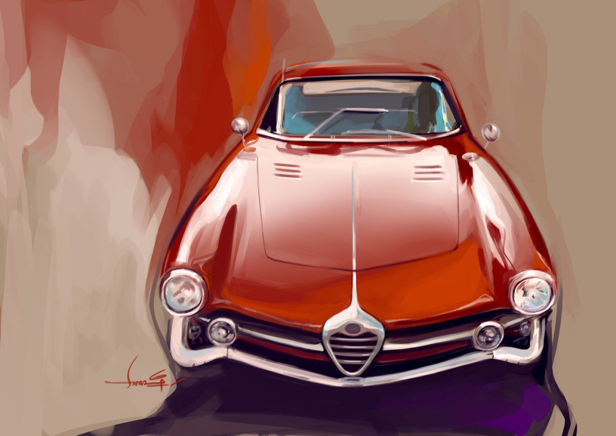 Photoshop use for this Alfa Romeo illustration