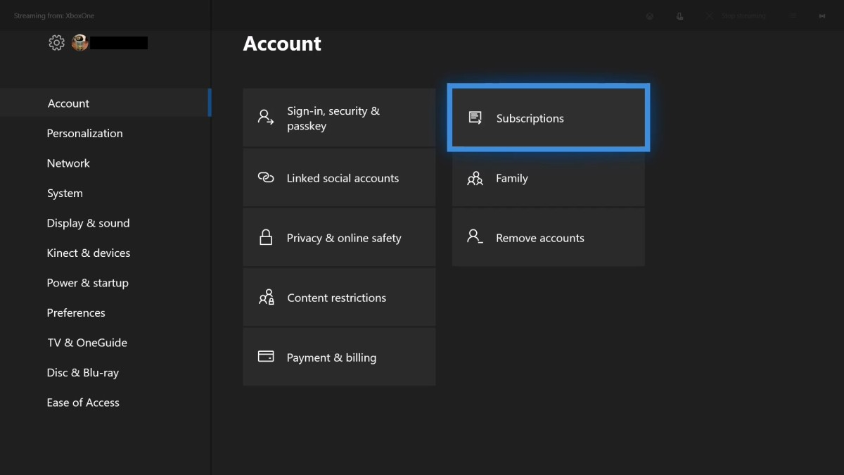 """Use your remote controller to then select """"Subscriptions"""" in the list of options that appear on the right side of the Xbox One screen."""