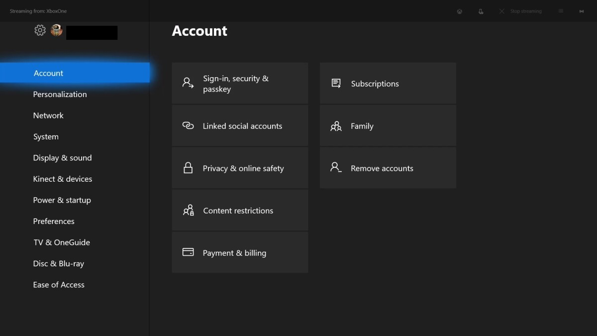 """Use your controller to select """"Account"""" in menu that appears vertically on the left side of the screen."""