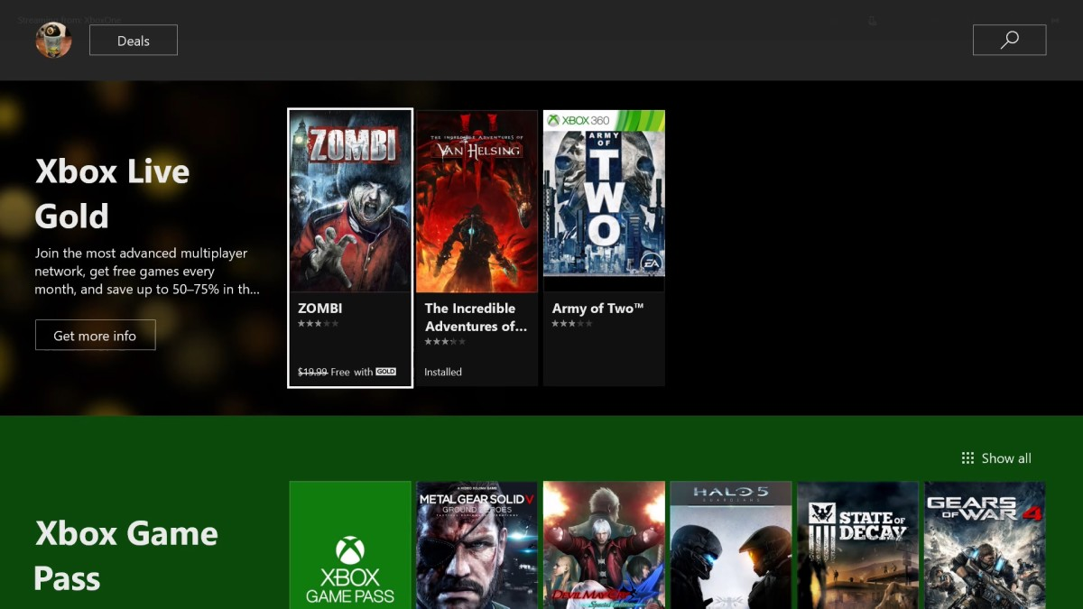 Navigate down to the Xbox Live Gold row, where all of the games you can download free with your Xbox Live Gold subscription are displayed.
