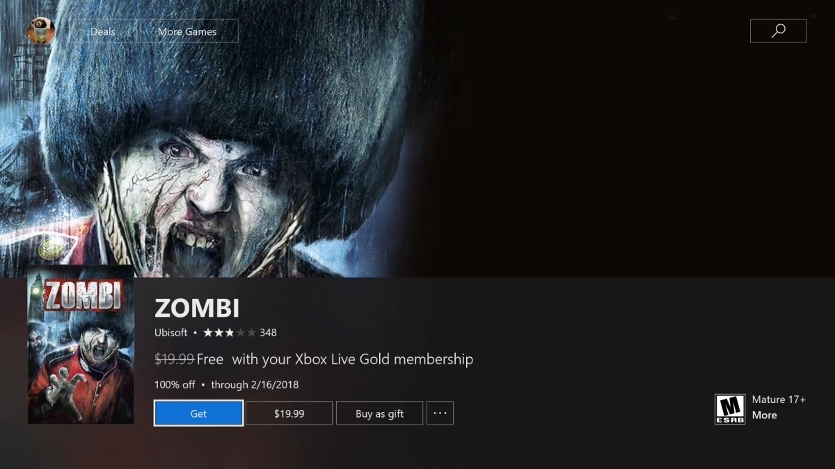 Selecting any of the games will take you to a standard information screen associated with that game, but instead of a price, you'll see a message that this game is free with your Xbox Live Gold subscription until a specific date.