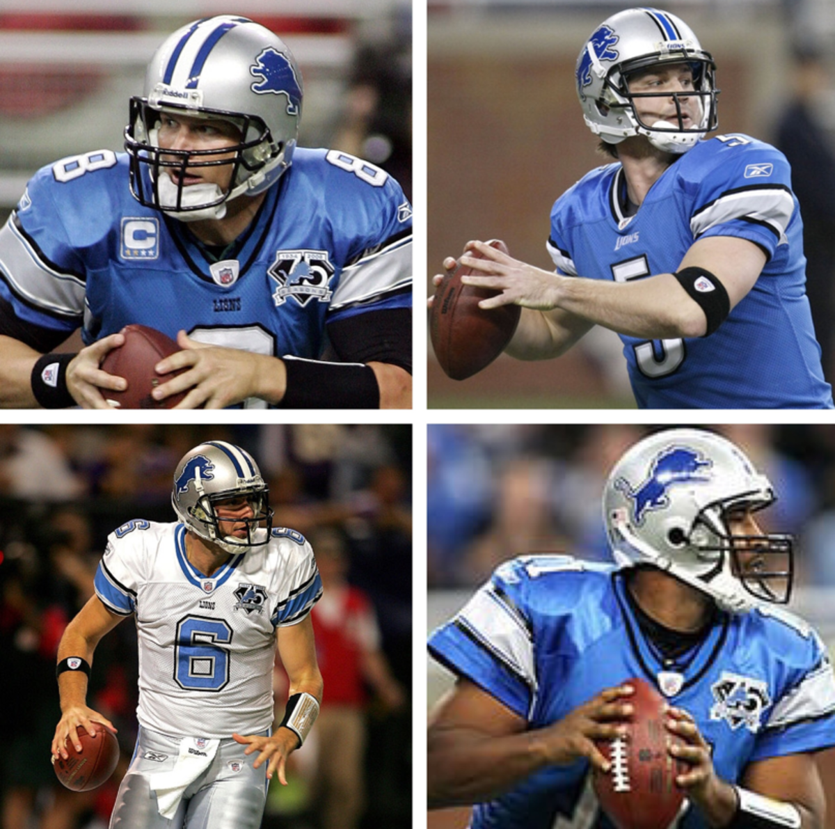 2008 Lion's quarterbacks(clockwise from top left): Jon Kitna, Drew Stanton, Daunte Culpepper, Dan Orlovsky