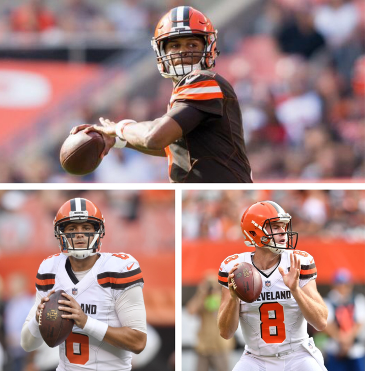 2017 Brown's quarterbacks(clockwise from top left): DeShone Kizer, Kevin Hogan, Cody Kessler